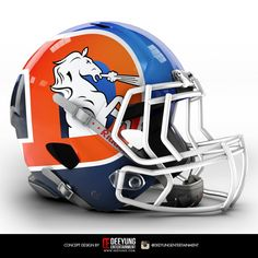 Does your NFL team need a fresh, new look? The folks at Deeyung Entertainment are here to help. The design company decided to create bold concept helmets for all 32 NFL teams. Denver Broncos Logo, Denver Broncos Helmet, College Football Helmets, Denver Broncos Football, Broncos Fans, Football Stuff, Football Memes, Football Season, Broncos Raiders