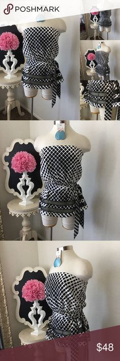 🌺White House Black Market  Black & White Silk Top 🌺White House Black Market Adorable Black & White Silk Top - Strapless- Beautiful Silk Print - Waist Tie - Bottom Sheer Design - Side Zipper - Top is Lined  $48 - New Size: 6  Fabric : 100% Silk  🌺 Accessories Not Included But Are also for Sale  Please Check out my Other Items in my GIRLe B Posh Shoppe'  Like us on FB   www.facebook.com/girleboutique Thanks For Looking & Always Let your Clothes get All the Attention 💋 ❌⭕️, Christina White…
