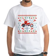 CafePress - Santa Biker Sweater Tee White T-Shirt - 100% Cotton T-Shirt, Crew Neck, Comfortable and Soft Classic White Tee with