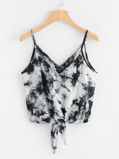 #Valentines #AdoreWe #ROMWE - #ROMWE Tie Dye Knotted Cami Top - AdoreWe.com