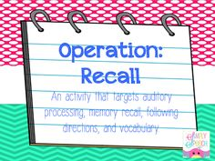 Simply Speech: Operation-Recall! {A New Activity For Memory Recall} Pinned by SOS Inc. Resources. Follow all our boards at pinterest.com/sostherapy for therapy resources.