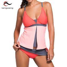 Women Tankini Summer 2 Piece Colorblock Tankini Skort Bottom Push Up Swimsuit Sport Swimwear Plus Size BathSuit Beach