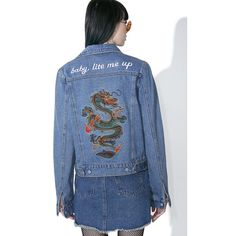 Spittin' Fire Denim Jacket ($60) ❤ liked on Polyvore featuring outerwear, jackets, button up jacket, button down jacket, blue jackets, dragon embroidered jacket and blue denim jacket