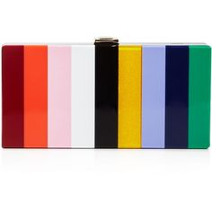 Milly Rainbow Box Clutch (4.028.230 IDR) ❤ liked on Polyvore featuring bags, handbags, clutches, multi, milly handbags, box clutch and hard clutch