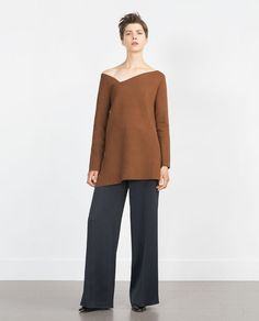 Image 1 of SWEATER WITH ASYMMETRIC NECKLINE from Zara