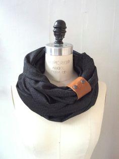 Chunky charcoal circular infinity scarf