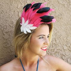 pink flamingo hats for adults | Pink Flamingo - Fascinator - Feather - 1 of a kind