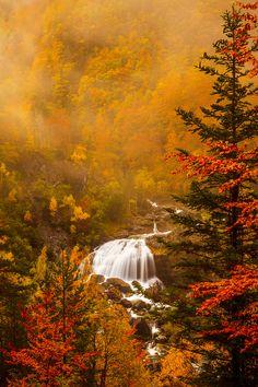 Ampas Falls in autumn - Ordesa National Park in Spain