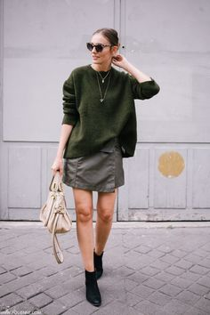 Would change the skirt for black and white, but very nice sweater and boots