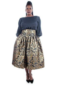 JIBRI High Waist Floral Brocade Flare Skirt