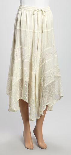 Advance Apparels White Embroidered Peasant Skirt