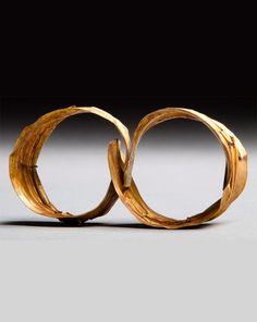 Indonesia ~ Nias Island   Old pair of woman's earrings ~ 'Saro Dalinga' or 'Gaule' ~ gold   700€ ~ sold
