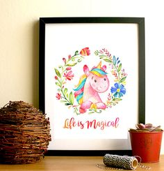 Life is magical rainbow unicorn watercolour by HangingMonkeyArts Watercolor Pictures, Pen And Watercolor, Unique Presents, Unique Gifts, Christmas Presents, Christmas Gifts, Christmas Gift Inspiration, Secret Santa Gifts, Rainbow Unicorn