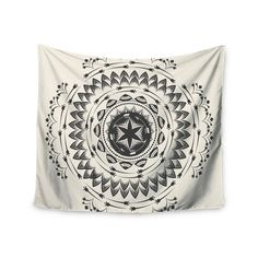 "Famenxt ""Boho Tribe Mandala"" Beige Black Wall Tapestry"