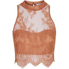 Sweetheart Crop Top by Glamorous ($13) ❤ liked on Polyvore featuring tops, crop top, shirts, tank tops, rose, sleeveless crop top, high neckline tank top, lace tank top, high neck tank top and lace crop top