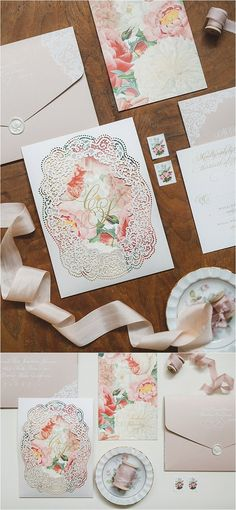 Elegant laser cut wedding invitations