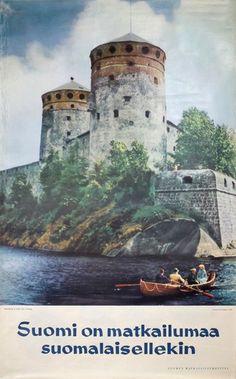 Soumi on matkailumaa suomalaisellekin - Finland poster designed by Photo: Kai Nordberg Retro Poster, Vintage Travel Posters, Commercial Photography, 15th Century, Photo Studio, Norway, Scandinavian, Castle, Pictures