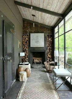 """Similar to what Southerners call a """"Lean To"""" style of Porch. Similar to what Southerners call a """"Lean To"""" style of Porch. Rustic Fireplaces, Exposed Wood, House Extensions, Cozy Living Rooms, Living Spaces, Design Case, Sweet Home, New Homes, Interior Design"""
