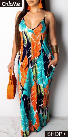 145ff21eff9 Leaf Printed Spaghetti Strap Maxi Dress Open Back Maxi Dress
