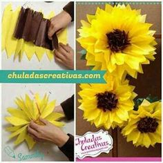 Gorgeous Spring Wedding Ideas to Get Inspired By – DIY Paper Sunflowers – wedding centerpieces Sunflower Birthday Parties, Sunflower Party, Sunflower Baby Showers, Baby Shower Flowers, Paper Sunflowers, Tissue Paper Flowers, Flower Crafts, Diy Flowers, How To Make Paper