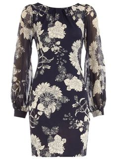 Anothere great dress from Dorothy Perkins, ink foil floral shift dress $59, get here http://rstyle.me/ic8z24mtu6