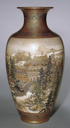 Vase  Japan  Meiji  1908  Kinkozan, painted by Sozan (both signed)  earthenware, painted and gilded  height 55 cm