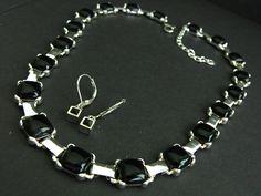 Signed Carolina Herrera Black Glass Silver Collar Necklace Rhinestone Ear  *MM* #CarolinaHerrera