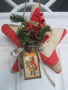 Primitive Christmas Star Handmade from Antique Log Cabin Quilt Holiday Decor | eBay