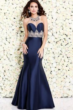 Navy Sheer Neckline Mermaid Dress 4076