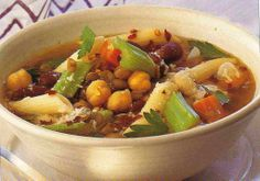 hearty vegetable soup (sub veg broth to make vegetarian and use GF noodles).