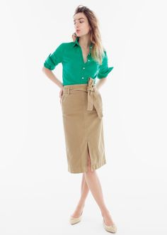 J.Crew How to Give Your Chino Personality Classic khaki, six new silhouettes. Just add accessories—or not. - the chino midi skirt #howtowear
