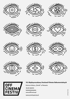 Posters designed for International Documentary Film Festival OFF CINEMA poster competition. Poster Competition, Typo Logo, Behance, Cinema Posters, Festival Posters, Graphic Design Posters, Editorial Design, Line Art, Print Design