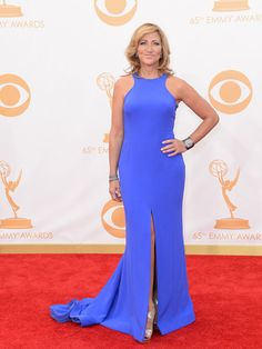 Edie Falco & Laura Dern - Emmys 2013 Red Carpet: Photo Edie Falco and Laura Dern glam up the red carpet at the 2013 Emmy Awards held at the Nokia Theatre L. Live on Sunday (September in Los Angeles. Both Edie… Fashion Wear, Curvy Fashion, Star Fashion, Fashion Photo, Fashion Tips, Red Carpet Ready, Red Carpet Looks, Dresses 2013, Blue Dresses