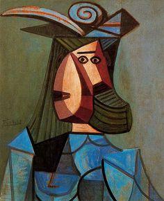 Portrait of woman (Dora Maar), 1942 Pablo Picasso ✏✏✏✏✏✏✏✏✏✏✏✏✏✏✏✏  ARTS ET PEINTURES - ARTS AND PAINTINGS  ☞ https://fr.pinterest.com/JeanfbJf/pin-peintres-painters-index/ ══════════════════════  Gᴀʙʏ﹣Fᴇ́ᴇʀɪᴇ ﹕☞ http://www.alittlemarket.com/boutique/gaby_feerie-132444.html ✏✏✏✏✏✏✏✏✏✏✏✏✏✏✏✏