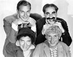 The Marx Brothers Top Zeppo Marx Groucho Marx Bottom Chico Marx Harpo Marx Ca. Early Photo Print x Harpo Marx, Groucho Marx, Great Comedies, Classic Comedies, Classic Movies, The Comedian, Hollywood Stars, Classic Hollywood, Old Hollywood