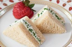 Goat Cheese and Fresh Herb Triangles -- Would be a great tea sandwich!