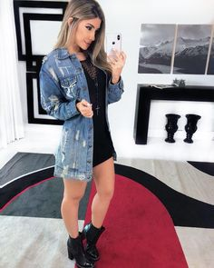 5 maneiras de usar a jaqueta jeans feminina, Night Outfits, Outfits For Teens, Trendy Outfits, College Outfits, Fall Outfits, Cute Outfits, Girl Fashion, Fashion Outfits, Fashion Top