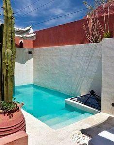 New house exterior garden architecture Ideas Small Swimming Pools, Small Backyard Pools, Backyard Pool Designs, Small Pools, Swimming Pools Backyard, Swimming Pool Designs, Backyard Patio, Modern Backyard, Ideas De Piscina