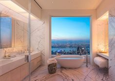 The 432 park avenue sky scraper is situated in new york and it is the tallest residential building of the world. here are some 432 park avenue interiors which you should definitely see! New York Penthouse, Manhattan Penthouse, Luxury Penthouse, Contemporary Bathroom Designs, Bathroom Design Luxury, Bathroom Interior, Bathroom Ideas, Bathroom Organization, Bathroom Storage