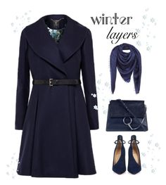 """""""Winter layers: blue coat!"""" by rasaj ❤ liked on Polyvore featuring Chloé, Christian Louboutin, Ted Baker, Louis Vuitton, women's clothing, women, female, woman, misses and juniors"""