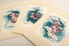Three Little Flying Pigs Fantasy Art Print Set 5 by TheElfinForest, $30.00