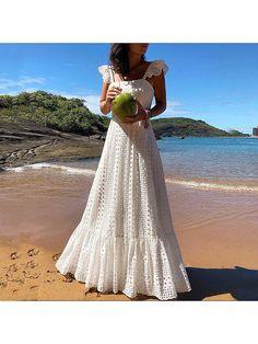 Bohemian White Lace Dress Boho Beach Dresses Chic Women Maxi Dress Womens A Plus Size Summer Long Wear Large Sizes 2019 Frocks Boho Chic, Boho Style, White Lace Maxi Dress, Bohemian White Dress, Lace Ruffle, Pretty White Dresses, Pretty Summer Dresses, Vintage Summer Dresses, White Dresses For Women