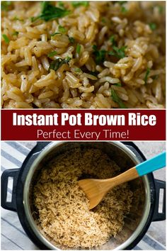 Instant pot brown rice is easy and absolutely no-fail. It includes less than 5 minutes of preparation and you will end up with delicious and fluffy brown rice every time. Brown Rice Dishes, Rice Side Dishes, Brown Rice Recipes, Easy Rice Recipes, Side Dish Recipes, Recipes Dinner, Potato Recipes, Minute Brown Rice Recipe, Vegetarian Recipes