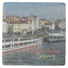 Beautiful City of Regensburg Stone Coaster - red gifts color style cyo diy personalize unique