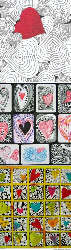 Zentangle Valentine's Day Ideas-- Chang shape - seahorse or starfish, with a stencil? Zentangle Drawings, Doodles Zentangles, Zentangle Patterns, Doodle Drawings, Doodle Art, Tangle Art, Valentines Art, School Art Projects, Heart Art