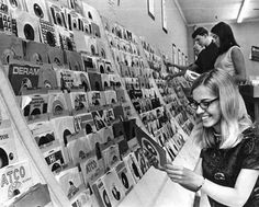 Finding your favorite 45 at the record store. Loved going to the record shop. We paid $1.00 for a 45.