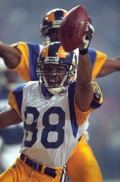 Super Bowl XXXIV St Louis Rams (WR) Torry Holt victorious after scoring touchdown vs Tennessee Titans, January 30, 2000.