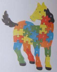 Puzzle cheval - Bois - Alphabet et nombres