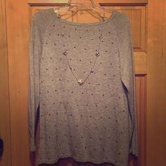 Gray Sweater NWOT, size medium, beaded gray sweater. Sisters Sweaters Crew & Scoop Necks