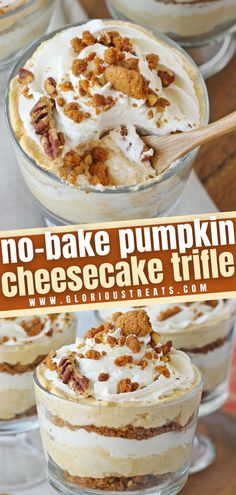 Experience fall perfection with Pumpkin Cheesecake Trifle! This easy recipe can be made in 30 minutes. With a no-bake pumpkin cheesecake filling layered with a crunchy crumble and fresh whipped cream, this simple yet delicious dessert is sure to impress on Thanksgiving!